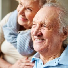 Affectionate senior man and woman